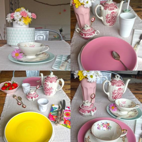 Omas Kaffeekanne und Zuckerdose, Sammeltassen, neues Geschirr in Gelb, Rosa, und Mint