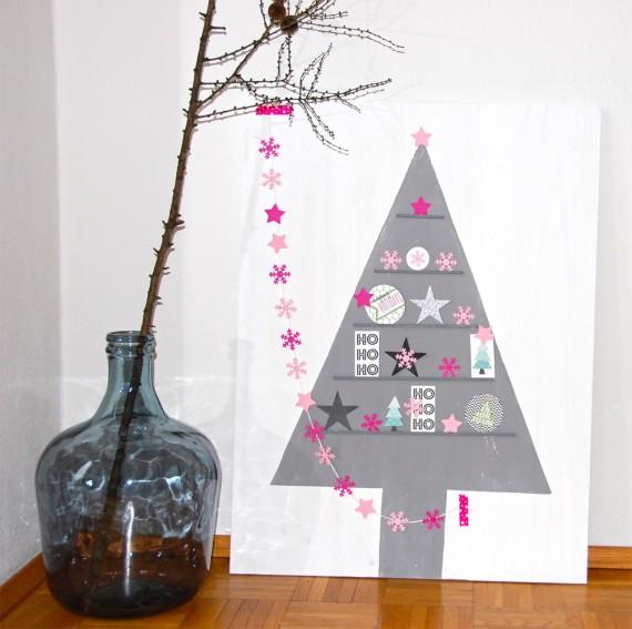 DIY - Weihnachtliches Holzschild