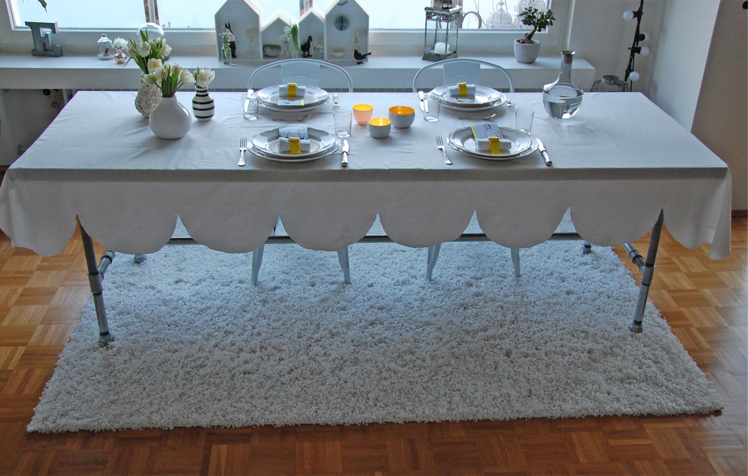 Tischdeko in wei und gelb roomilicious - Ikea glastisch dekorieren ...