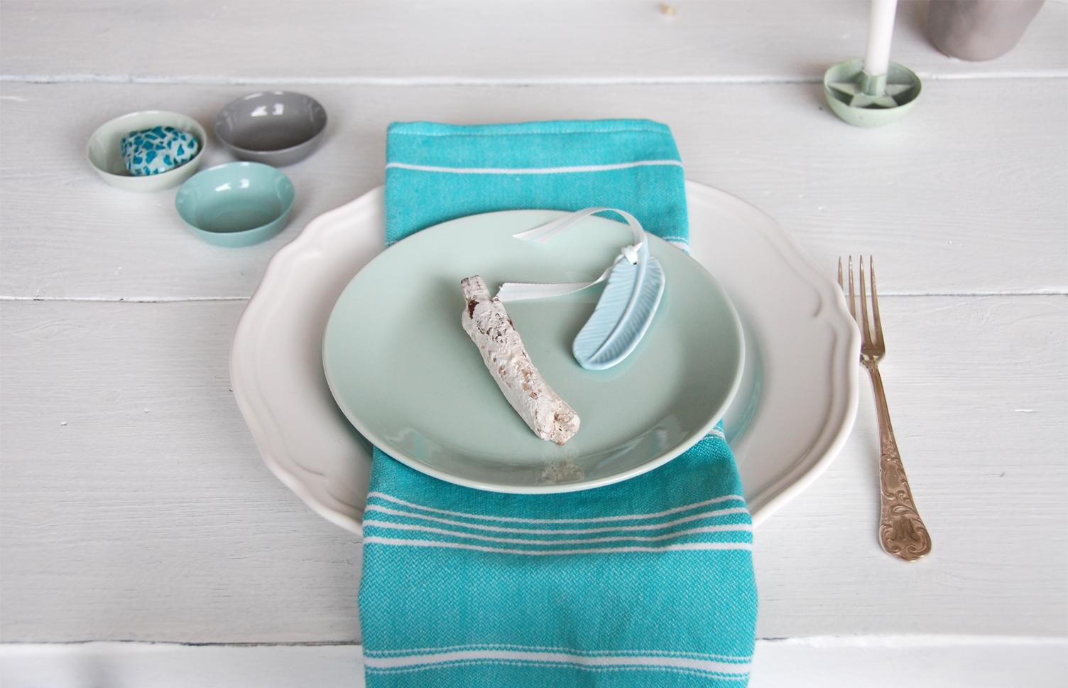 Tischdeko  in Aquafarben