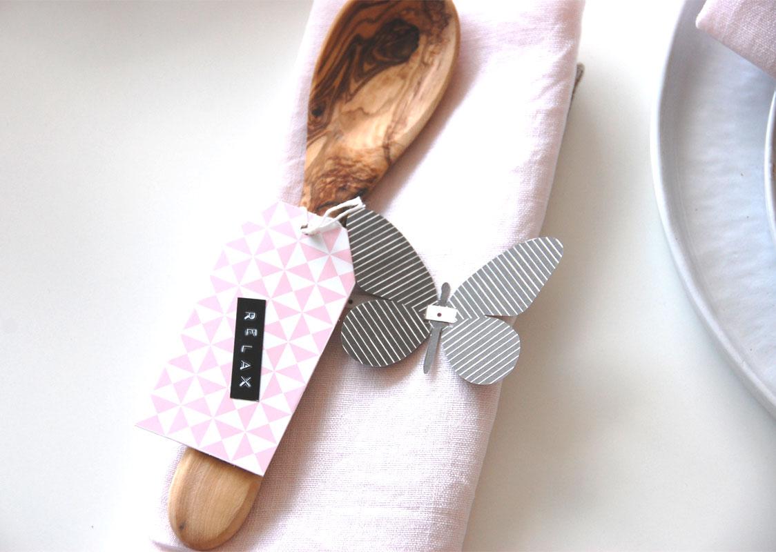 Tischdeko - Holz und rosa