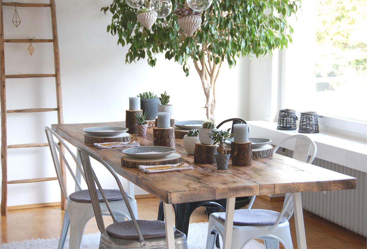 Tischdeko Mit Baumscheiben Roomilicious