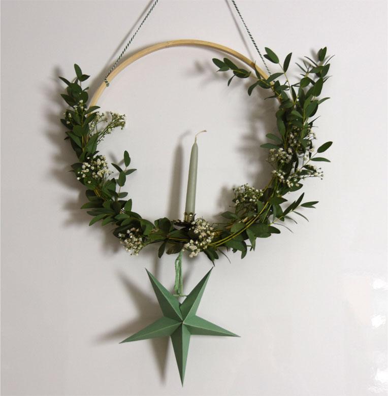 DIY - weihnachtlicher Kranz mit Stickrahmen