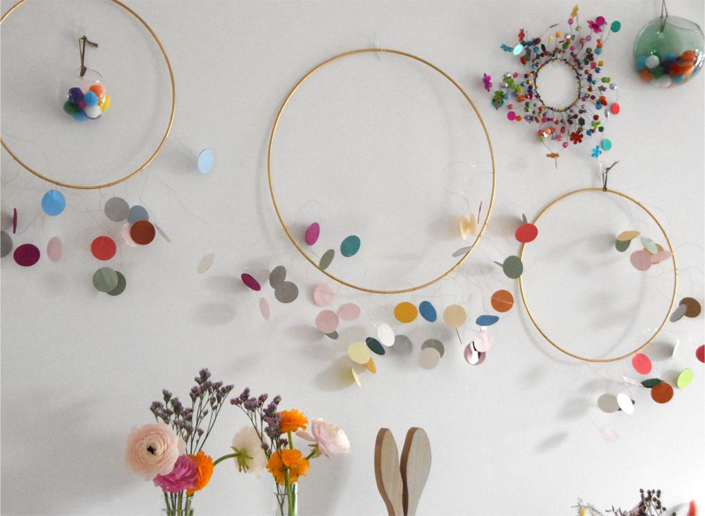 DIY - Messingringe mit bunten Papierkreisen
