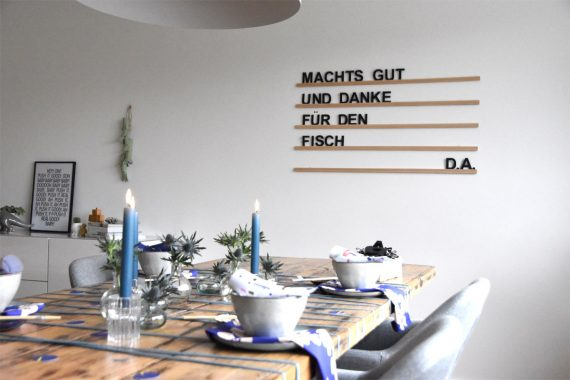 Tischdeko in Blau - Letterboard